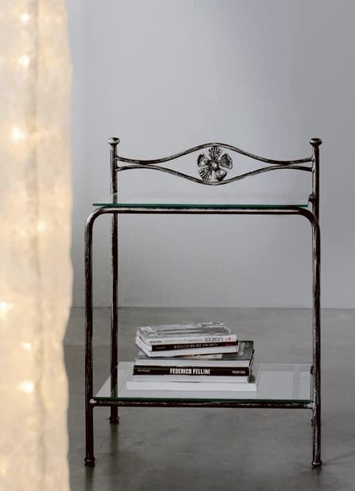Albatros Bedside Table, Nachttisch aus Metall mit Glasböden, Blumenschmuck