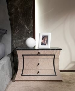 CD30 Cartesio Nachttisch, Hölzerner Nachttisch mit Marmorplatte