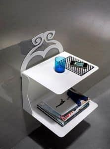 Charme Nachttisch, Nachttisch mit 2 Einlegeböden aus lackiertem Metall, ausgesetzt