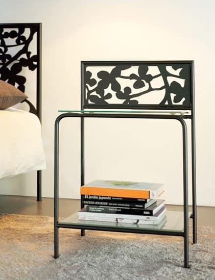 Flower Bedside, Moderne Metall Nachttisch mit Glasböden