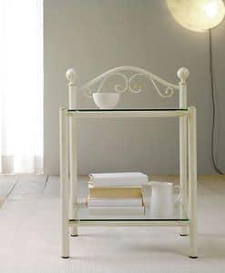 Lina Bedside Table, Nachttisch aus lackiertem Eisen und 2 Glaseinlegeböden
