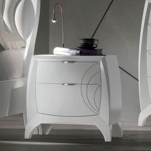 Luna LUNA5156, Nachttisch mit 2 Schubladen und Gravuren
