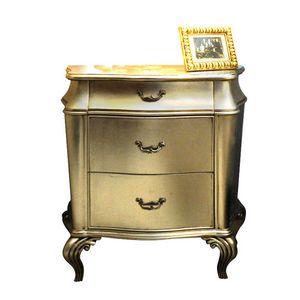 Marini RA.0726, Geformter Nachttisch aus Walnuss mit drei Schubladen