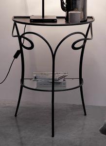 Minuetto, Couchtisch / Nachttisch aus Eisen und Kristall