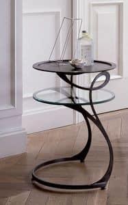 Moby, Nachttisch aus Eisen mit Glasregal