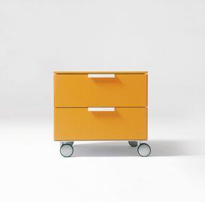 PRISMA comp.02, Moderne Nachttisch, Aluminium-Griff, für Kinder