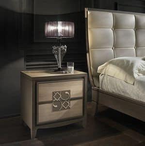 ST 711 P, Esche Nachttisch mit Einsatz, im klassischen Stil