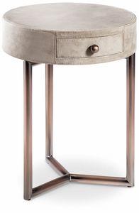 Teo Nachttisch, Runder Nachttisch aus Leder