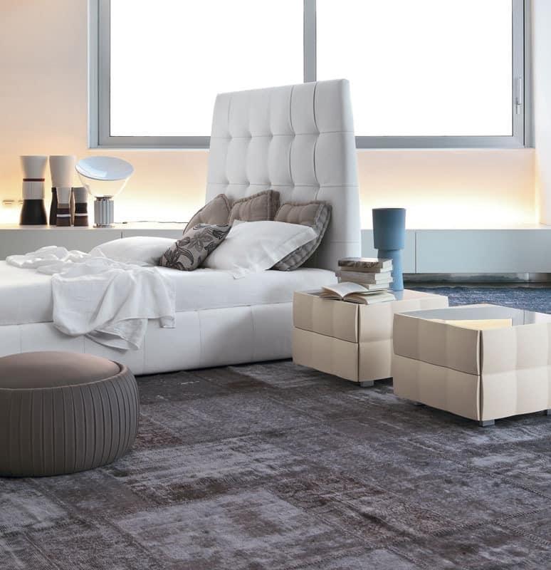 VENICE NOTTE bedside table, Nachttisch mit PVC laminiert beschichtet, für Schlafbereich