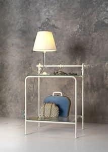 Versilia Nachttisch, Nachttisch aus Metall und Glas, für Hotelzimmer