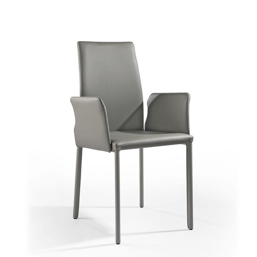 Agata with armrests, Moderne Sessel gepolstert mit Gummi, Lederbezug