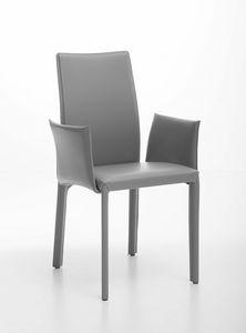 Fortune Sessel, Stahlsessel komplett mit Leder bezogen