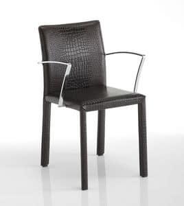 Sissi, Stuhl mit Armlehnen, Lederausstattung, in verschiedenen Farben erhältlich