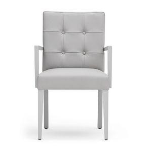 Zenith 01629, Sessel mit Armlehnen mit Holzrahmen, gepolsterter Sitz und Rücken, capitonné zurück, für die Gaststätten