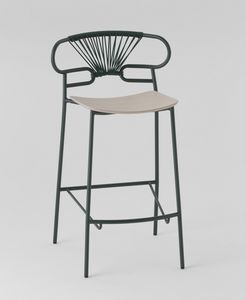 ART. 0049-MET-CROSS STOOL GENOA, Metallhocker mit Holzsitz