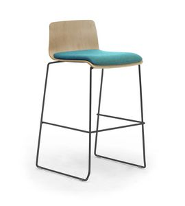 Zerosedici Wood stool, Hocker mit Metallkufengestell
