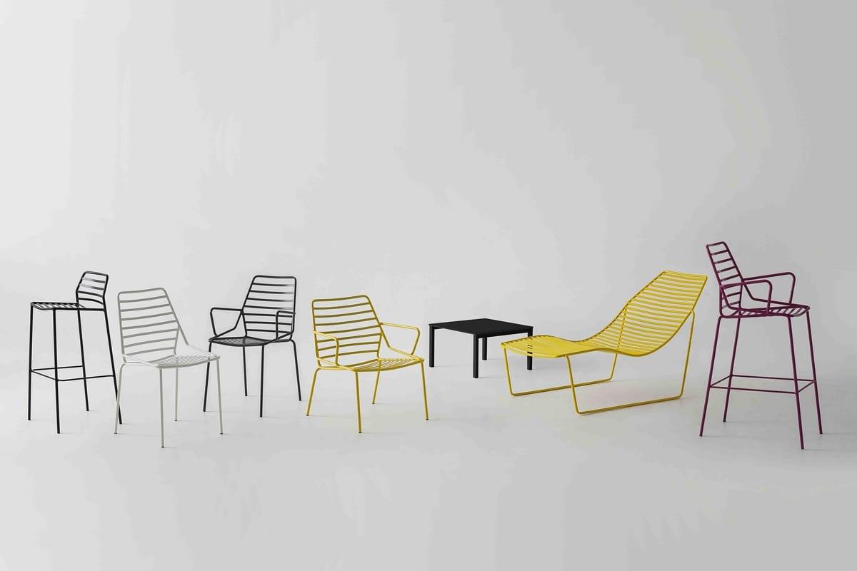 Link ST, Design Barhocker alle aus Metall, gemacht für den Außenbereich