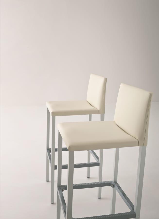 Milano 75, Hoher Hocker aus Aluminium, Sitz und Rücken bedeckt