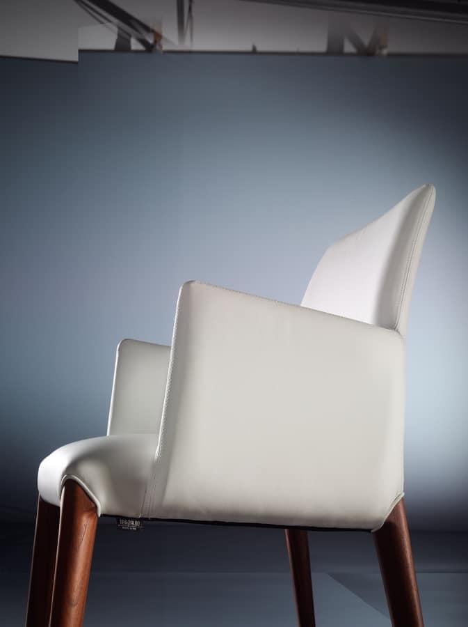 ART. 253/B INES, Moderne kleine Sessel, gepolstert, Holzbeine