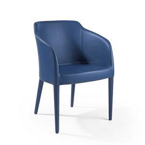 Brigitte pl vollständig abgedeckt, Stuhl mit Lederpolsterung
