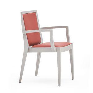 Flame 02121, Armchairwith Arme aus Massivholz, Sitz und Rücken gepolstert, Stoffbezug, moderner Stil