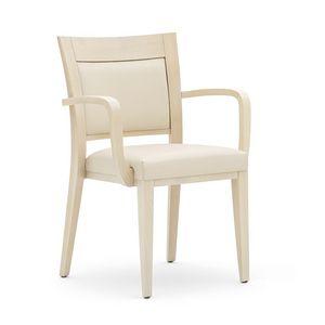 Logica 00927, Stapelstuhl, gepolsterter Sitz und Rücken, Holzkonstruktion, für den Objektbereich