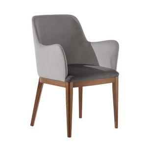 Margot P1, Gepolsterter Sessel mit geformten Armlehnen