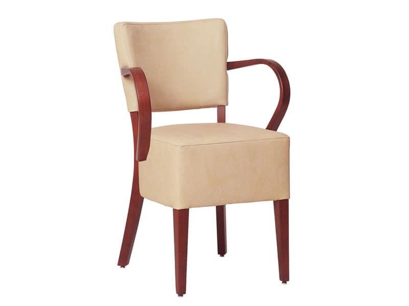 Marsiglia/P/1, Sessel für Restaurants mit Holzarmlehnen