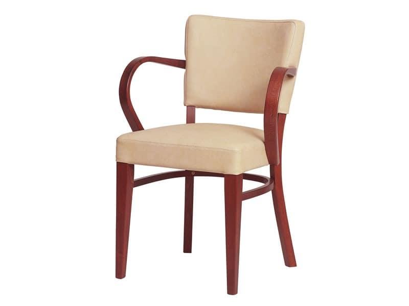 Marsiglia/P, Sessel mit Struktur und Armlehnen aus Holz, für Restaurants gemacht