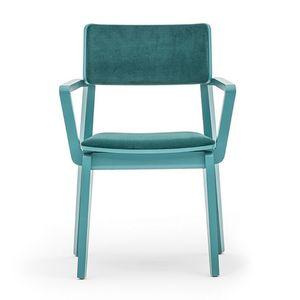 Offset 02823, Sessel aus Massivholz, gepolsterter Sitz und Rücken, in einem modernen Stil.