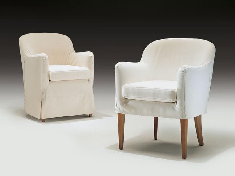 Olga, Moderne Sessel aus Holz und Polyurethan, für den Objektbereich
