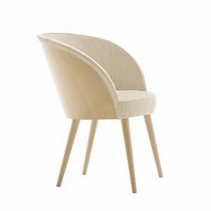 Rose 03037, Gepolsterter Sessel mit Rückenlehne in Buche