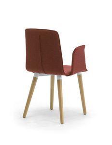 Zerosedici 4G Holz, Gepolsterter moderner Stuhl mit hölzernen Kegelbeinen