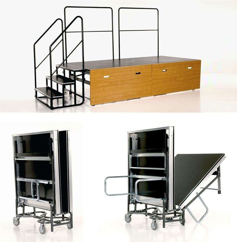 Centrefold, Faltbare Plattform auf Rädern, mit Stufen und Geländer