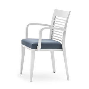 Logica 00925, Esszimmerstuhl mit Armlehnen , stapelbar und mit gepolstertem Sitz