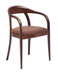C27, Bugholz Sessel mit Armlehnen, gepolstert und mit Stoff Sitz bedeckt, für Restaurants und Hotels