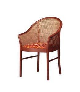 404, Elegant Buchenholz Stuhl, zurück in Rohr