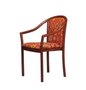 405, Gepolsterter Stuhl mit Armlehnen, in Buche, für Restaurants