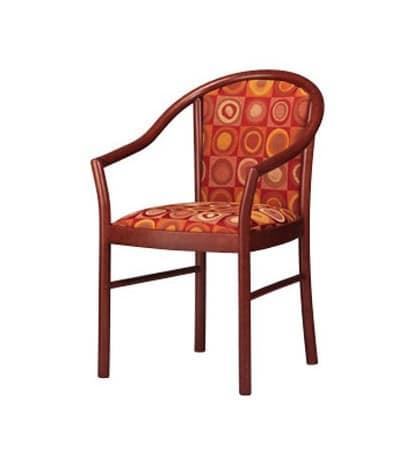 406, Eleganter Stuhl mit Armlehnen, gepolstert, in Buche, für Bars