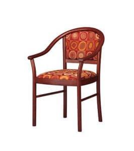 409, Stuhl mit Armlehnen abgerundet, gepolstert, für Lobby