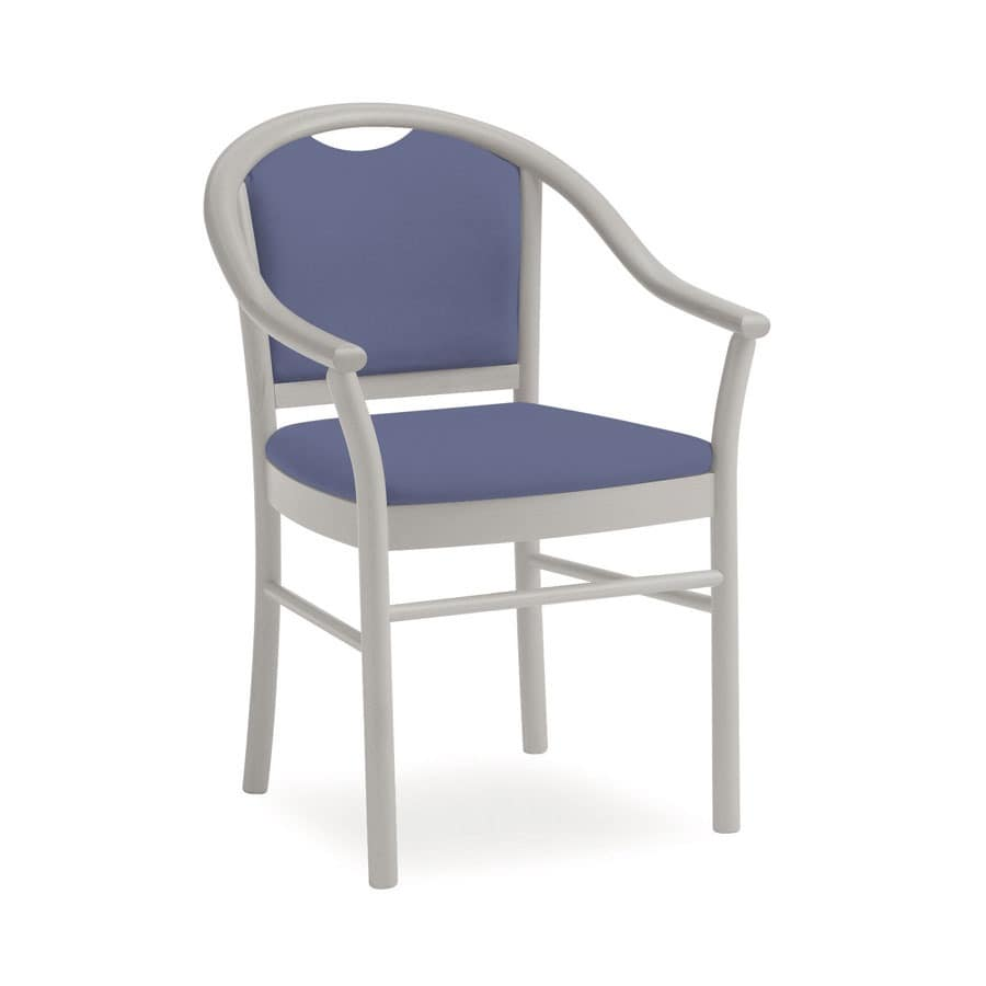Dolly L1175 3/4 M, Gepolsterter Stuhl aus Holz, handlich, für Wohnzimmer