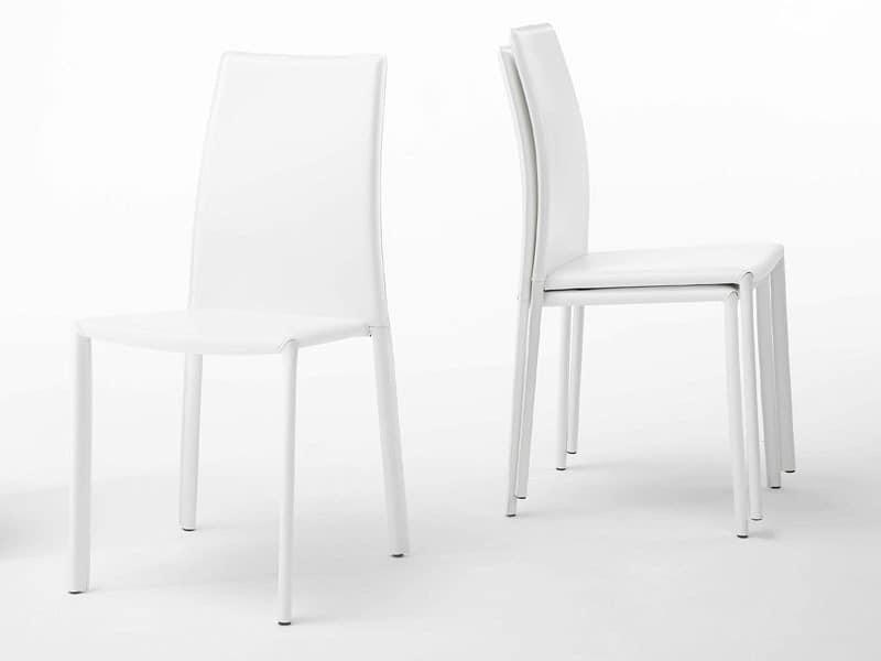 Aloe, Stuhl aus Stahl, mit Leder bezogen, für Esszimmer