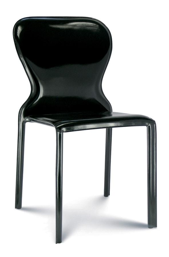 Amanda, Stuhl komplett mit Leder bezogen