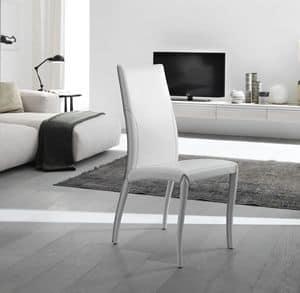 Amos, Eleganter Stuhl, in Leder vollständig gepolstert, für Esszimmer