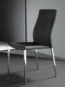 Art. 213 Hellen, Stuhl aus Metall, gepolstert in hochwertigem Kunstleder
