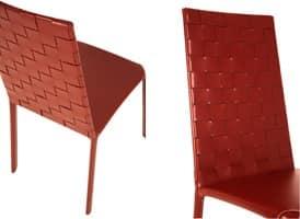 Jenia high woven, Lederstuhl, in Stahl und Gummi, für Wohnzimmer
