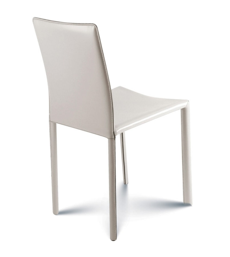 Giada low, Stuhl komplett mit Leder bezogen