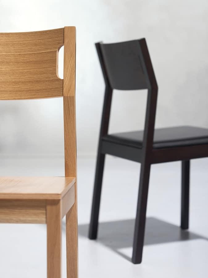 Moijto, Holzstuhl ohne Armlehnen, Ledersitz