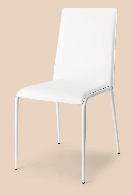 SE 1508, Stapelbarer Stuhl aus Metall und Leder gebunden