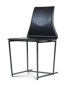 Tessa, Metallstuhl, mit Leder bezogen